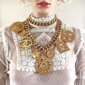 CHANEL - Rare Huge Vintage Gold CC Charms Necklace